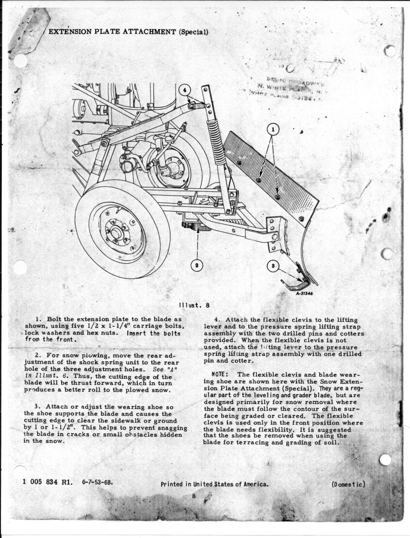 Farmall Cub Blade Diagrams Worksheet And Wiring Diagram 1948 Manual 54 Leveling Grader 6 7 53 Rh Farmallcub Com 1949 International Tractor