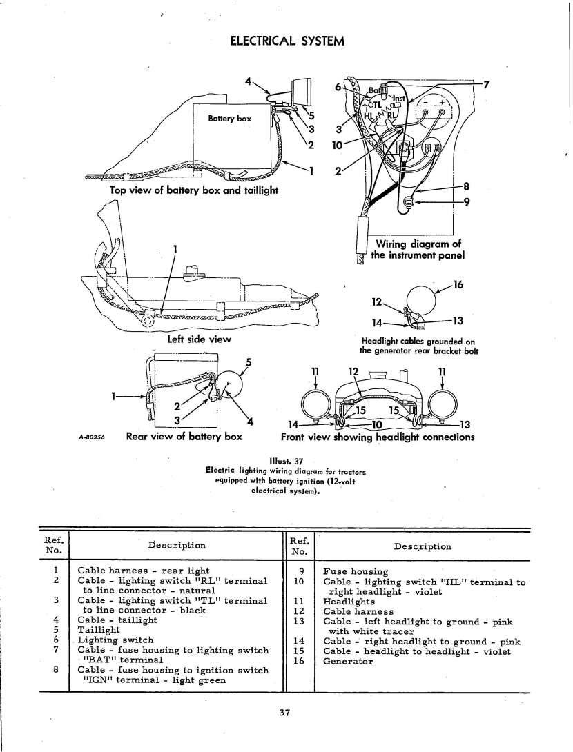1966 12 volt with generator, wiring diagram - Farmall Cub
